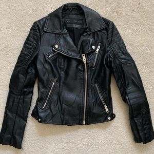 Zara Basic Moto Black Faux Leather Jacket M